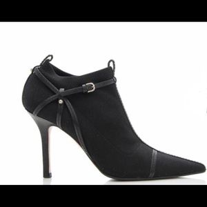 GUCCI Pointed Toe Nylon Leather Booties Boots